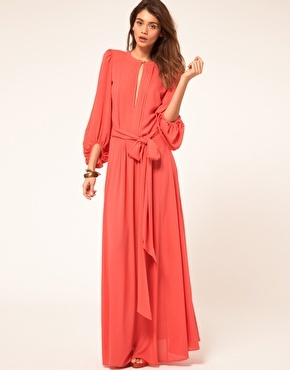Miss Sixty Maxi Dress With Sleeves