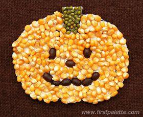 Seed Mosaic Pumpkin for Halloween!
