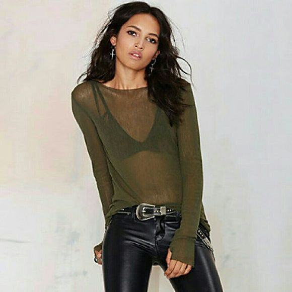 Sexy top See through green top. boutique  Tops