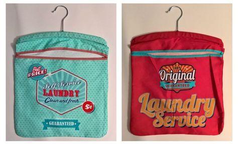 Retro Klammerbeutel Kleiderbügel Wäscheklammer-Beutel vintage Laundry 70er NEU