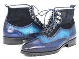 Men's Wingtip Boots Blue Suede & Leather