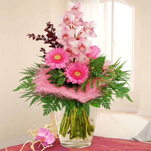 Blumenstrauß Orchideentraum - in gestaffelter Strauß in zartrosa, gebunden aus einer Orchidee, einer Rose und Gerberas.