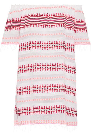 LemLem - Tabtab Off-the-shoulder Striped Cotton-blend Gauze Mini Dress - White -