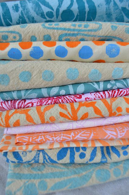 It might be fun to just paint some fabric...  Hand Printed Fabric by Amy Rice, via Flickr
