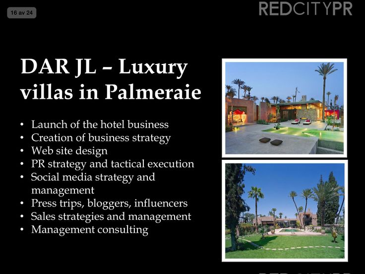 Red City PR client Dar JL luxury villas in Marrakech