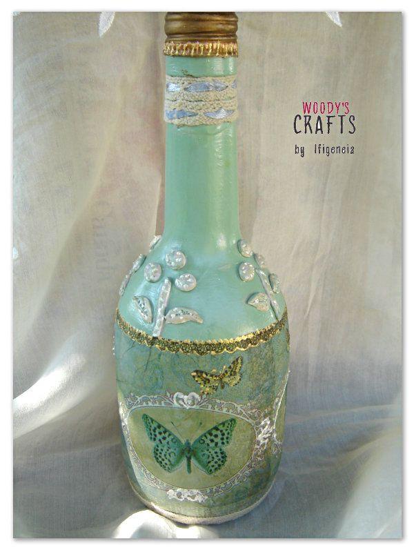 Διακοσμητικό χειροποίητο μπουκάλι | Decoupage Art | Woody's Crafts by Ifigeneia