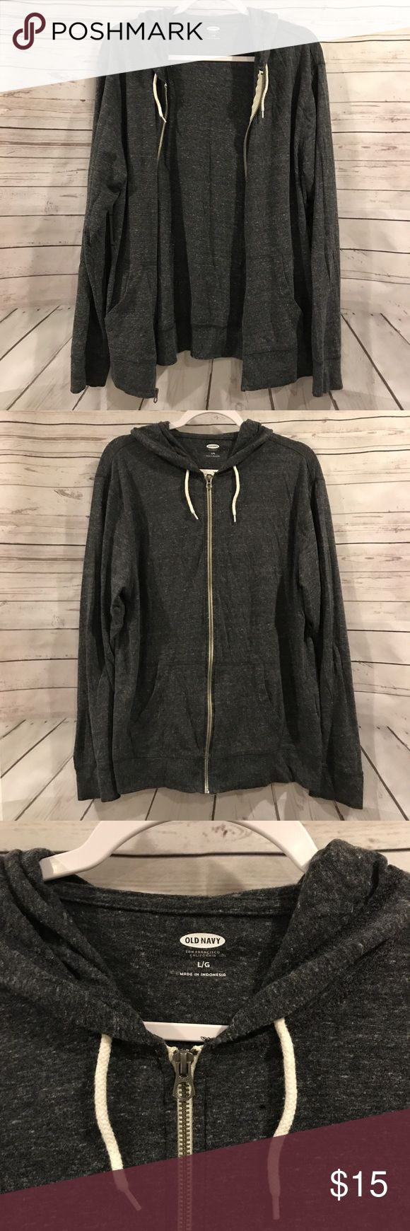 Old Navy Grey Hoodie was Old Navy Grey zip up hoodie! Size L.   Approximate measurements: Pit to pit- 24 Length- 27 Pit to end of sleeve- 20   **D128 Old Navy Jackets & Coats