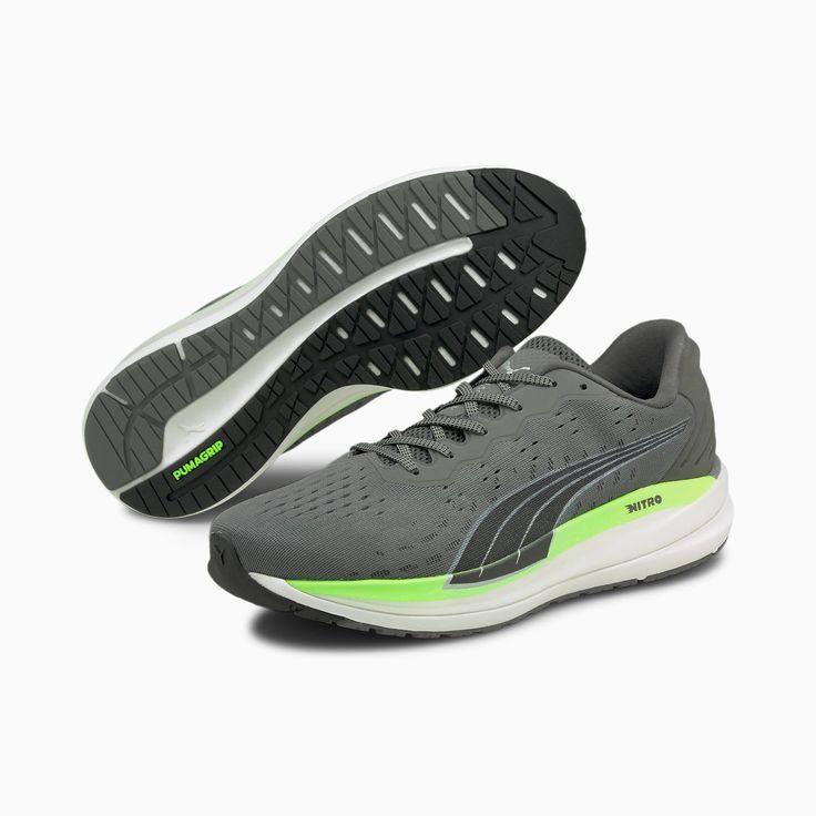 Magnify Nitro Men's Running Shoes | CASTLEROCK-Green Glare | PUMA ...