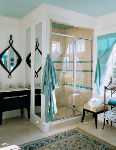 House of turquoise blue painted ceilings