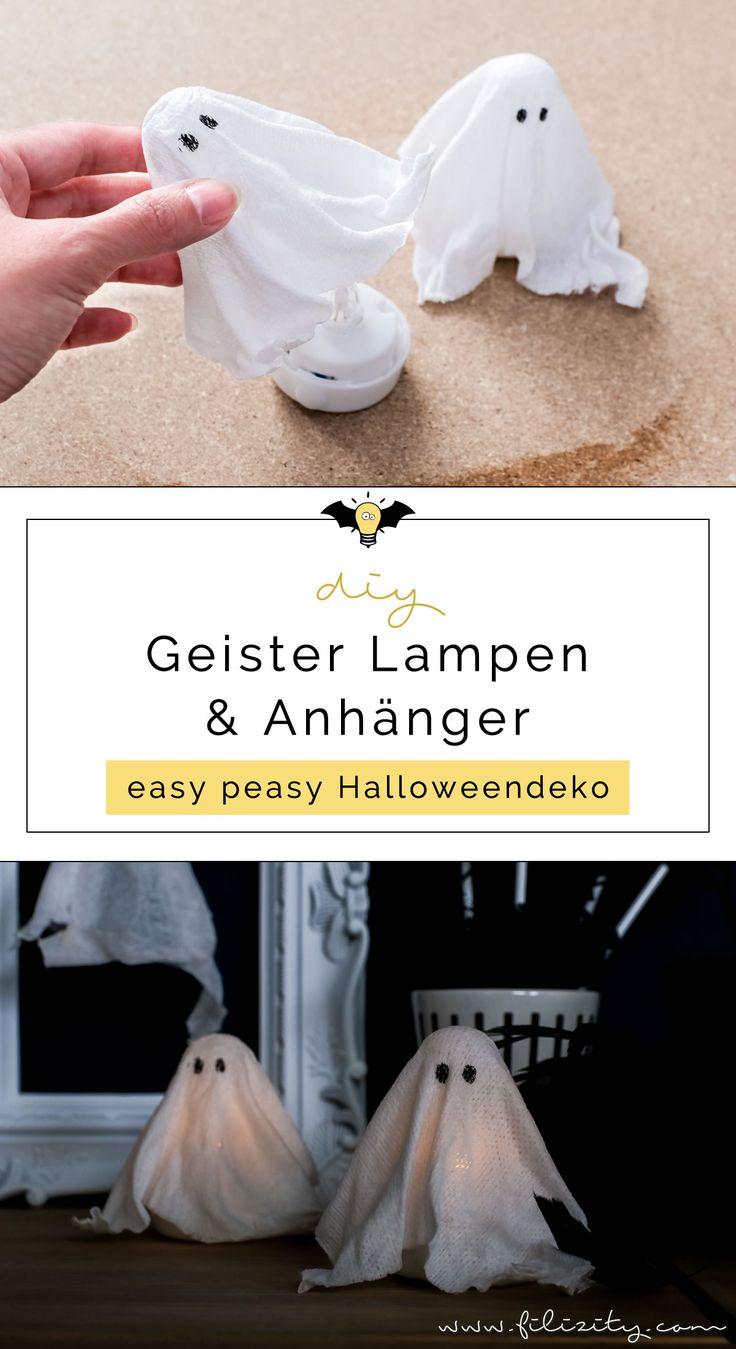 DIY Halloweendeko selber machen: Geister-Lampen und Geister-Anhänger – Annika Gebers