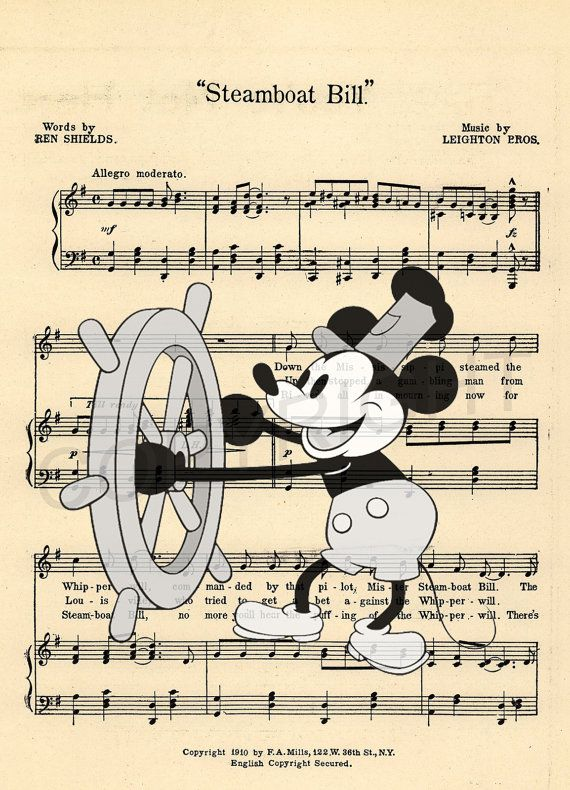 Here is a sheet music art print of Mickey Mouse as Steamboat Willie. This is perfect for any Mickey/Disney fanatic! Be sure to let us know which print you prefer: 1) Black & White Image or 2) Color Image. We print this on quality photo paper, which measures approximately 8.5x11, and ship it in a heavy-duty envelope to ensure it arrives intact. FRAME NOT INCLUDED. 11x15 Poster: $20.00 Take advantage of our Buy 2 Prints, Get 1 Free special! Simply purchase any two prints in our sho...