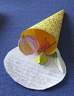 Kids Thanksgiving Craft: Cornucopia with fruit, vegetables