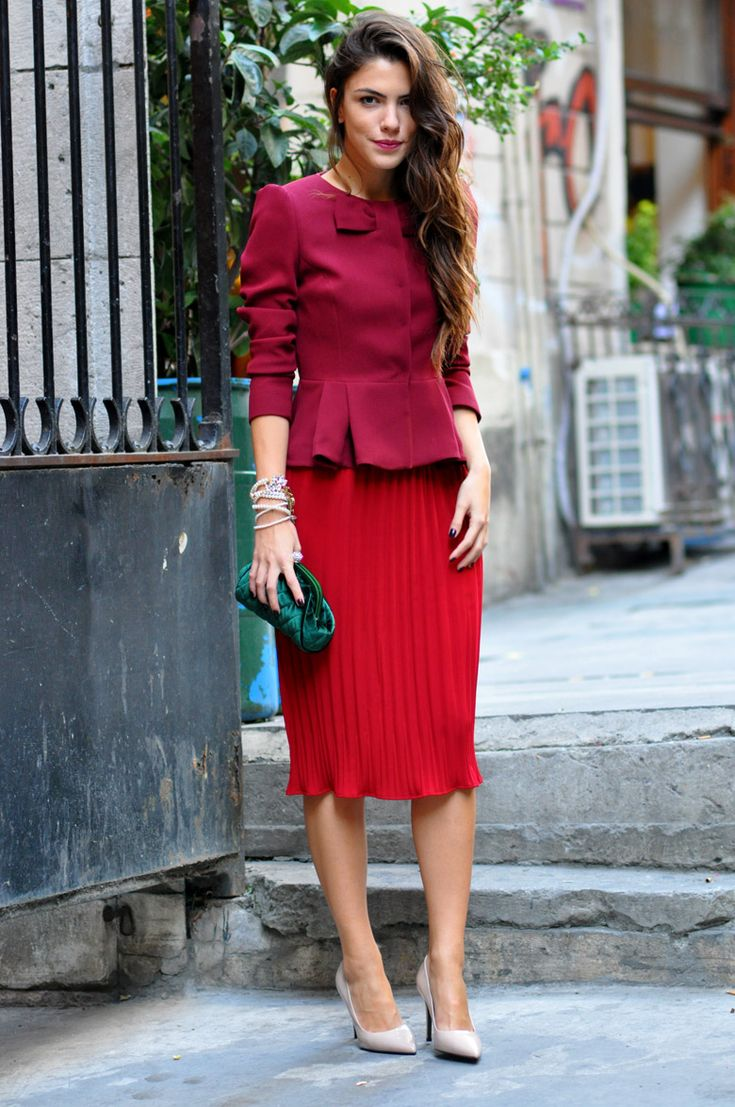 Burgundy & red-- monochromatic color combo!
