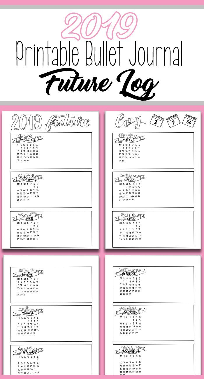 graphic regarding Bullet Journal Pages Printable called 2019 Bullet Magazine Upcoming Log Printable Magazine