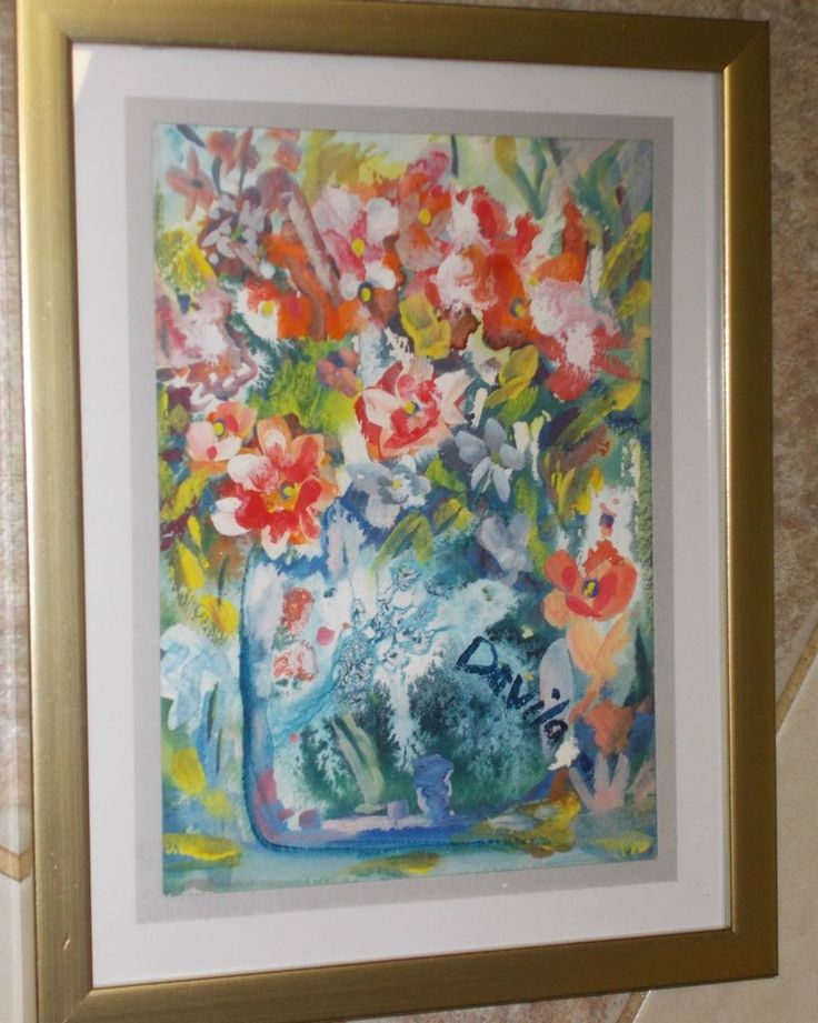 """ORIGINAL """"RED ROBBIN FLORAL"""" WATERCOLOR PAINTING BY US ARTIST, SIGNED & FRAMED #Impressionism"""