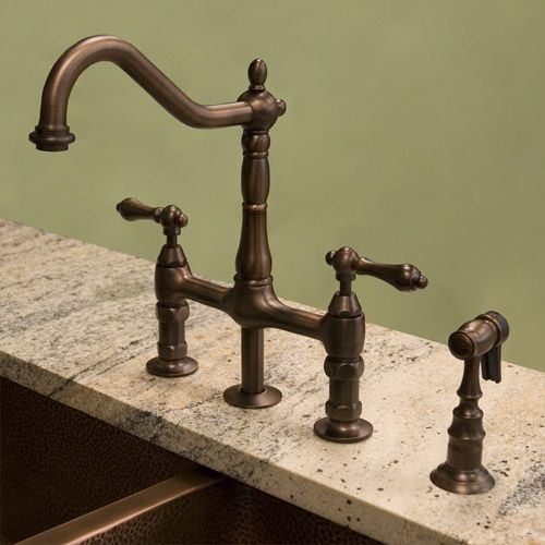 Bellevue Bridge Kitchen Faucet with Brass Sprayer - Lever Handles    Kitchen faucet, on sale great quality!