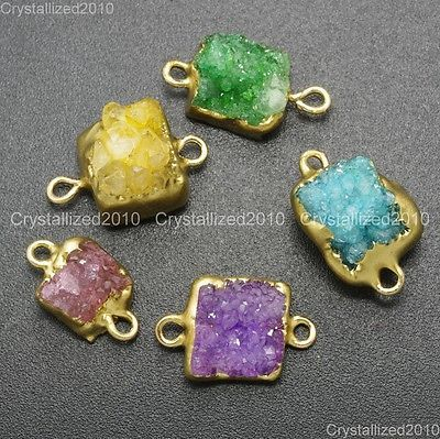 Natural Druzy Quartz Agate Geode Connector Charm Pendant Spacer Beads 18K Gold