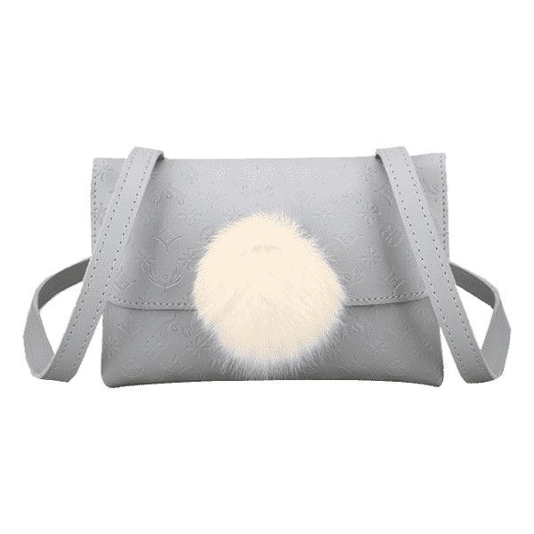 Pompom Embossing Crossbody Bag Gray ($15) ❤ liked on Polyvore featuring bags, handbags, shoulder bags, grey crossbody purse, grey shoulder bag, gray handbags, grey cross body handbags and grey purse
