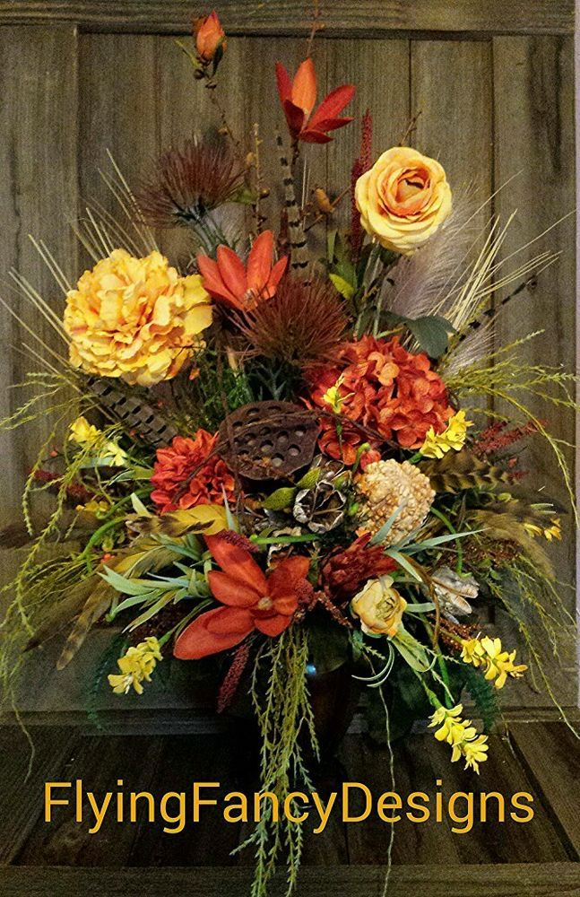 Sold 32 In Rustic Western Ranch Silk Feather Floral Flower Arrangement Barbed Wire In Home