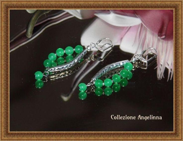 Wunderschöne Ohrringe grüner Achat Tibetsilber | KunstiX