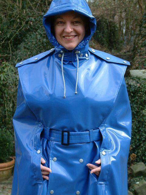 Blue PVC Hooded Cape