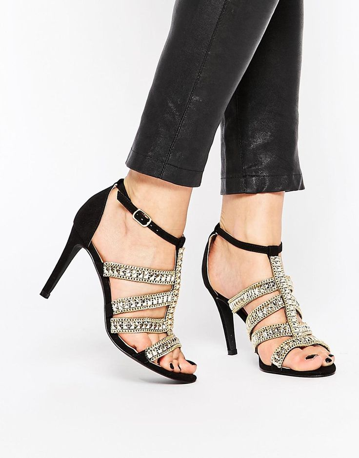 """Shoes by London Rebel Matte leather-look upper Pin buckle ankle strap Gold-tone chain and stud embellishment Open toe High heel Wipe with a damp cloth Heel Height: 9.5cm/3.5"""""""