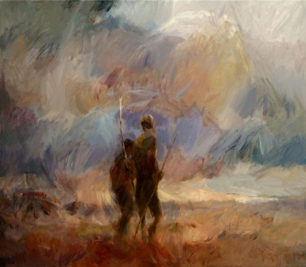 www.trinitypaintbox.com The Last of the Nomads is about the last two aboriginal people living an unbroken and ancient way of life that reaches back beyond memory and myth holding before us the improbability and fragility of our common being. #painting #creativity
