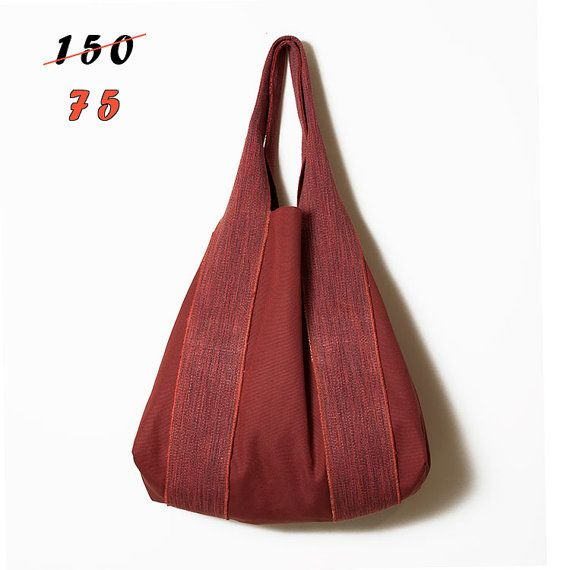 Tote women bag  Red large canvas bag  by ElenaVandelliBags on Etsy