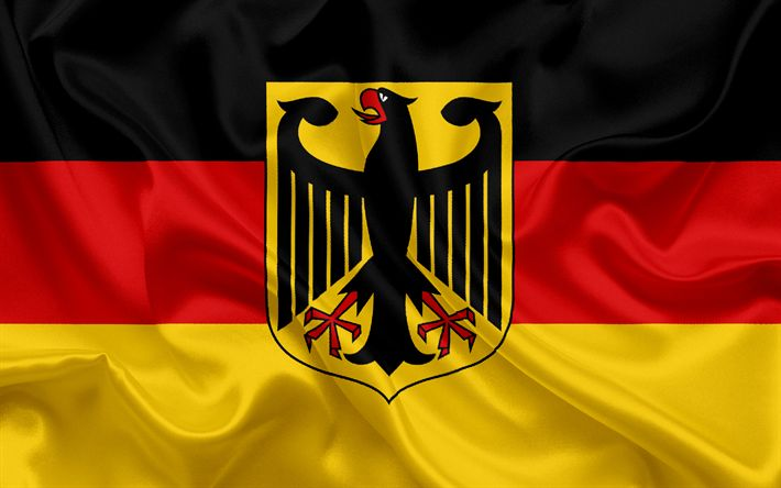 Download wallpapers Flag of Germany, German flag, German coat of arms, silk flag, Federal Republic of Germany