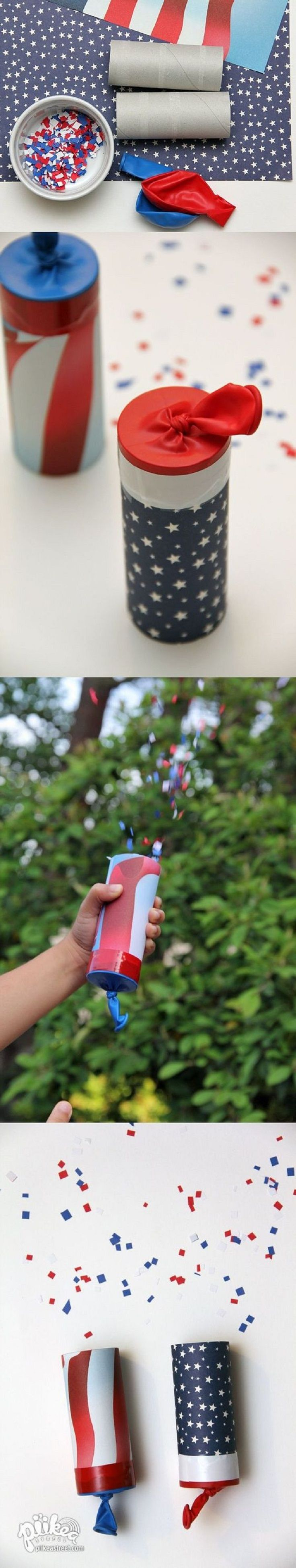 Fourth of July Confetti Launchers - In most countries, fireworks are banned for personal use, but even if they're not in your country, we have a safer , more kid-friendly option for you. Confetti launchers are fun to make and use, and you don't have to worry because they can't hurt anyone. So go get some paper rolls, fill them up with confetti and have fun!