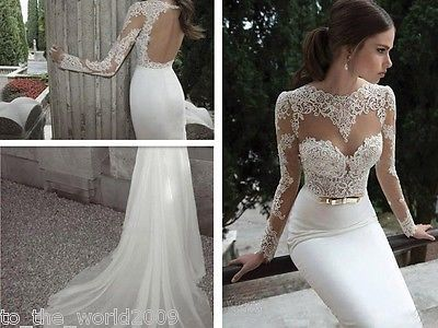 Newest Y Mermaid Liques Lace Backless Wedding Dresses Long Sleeve Custom Beautiful Idea To Hide