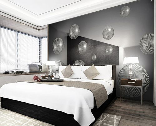 Extension d'espace - Papier peint photo abstrait trompe l'œil effet 3D en noir blanc gris - Les boules métalliques flottantes