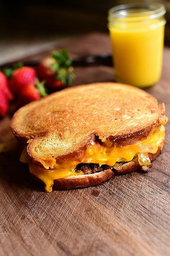 Breakfast Patty Melt! Just like a regular Patty Melt, just sub a sausage patty for the hamburger and add scrambled eggs.