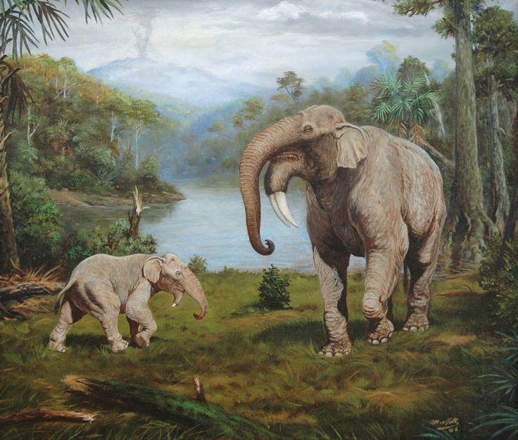 Deinotherium giganteum life restoration by Petr Modlitba