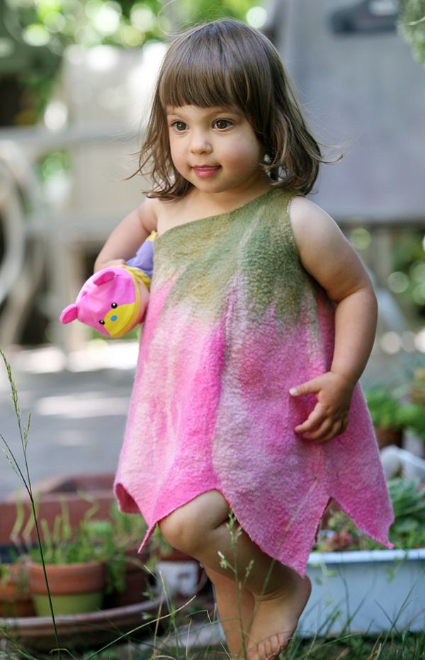 Felted girl tulip flower dress pink baby toddler girl dress flower dress fancy dress Halloween costume designer art wear flower twin costume