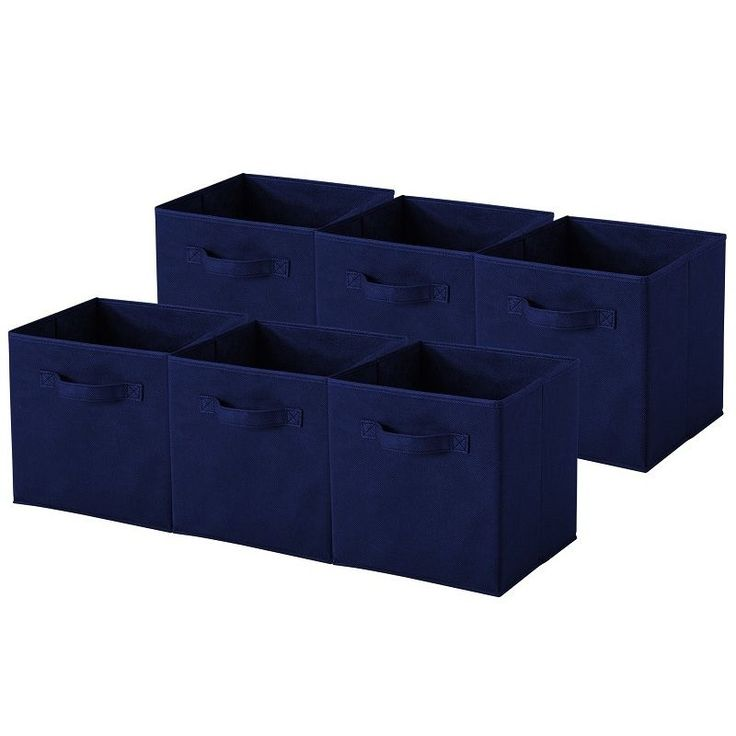 Navy Blue Collapsible Storage Cubes (Pack of 6) (Navy) (Fabric)