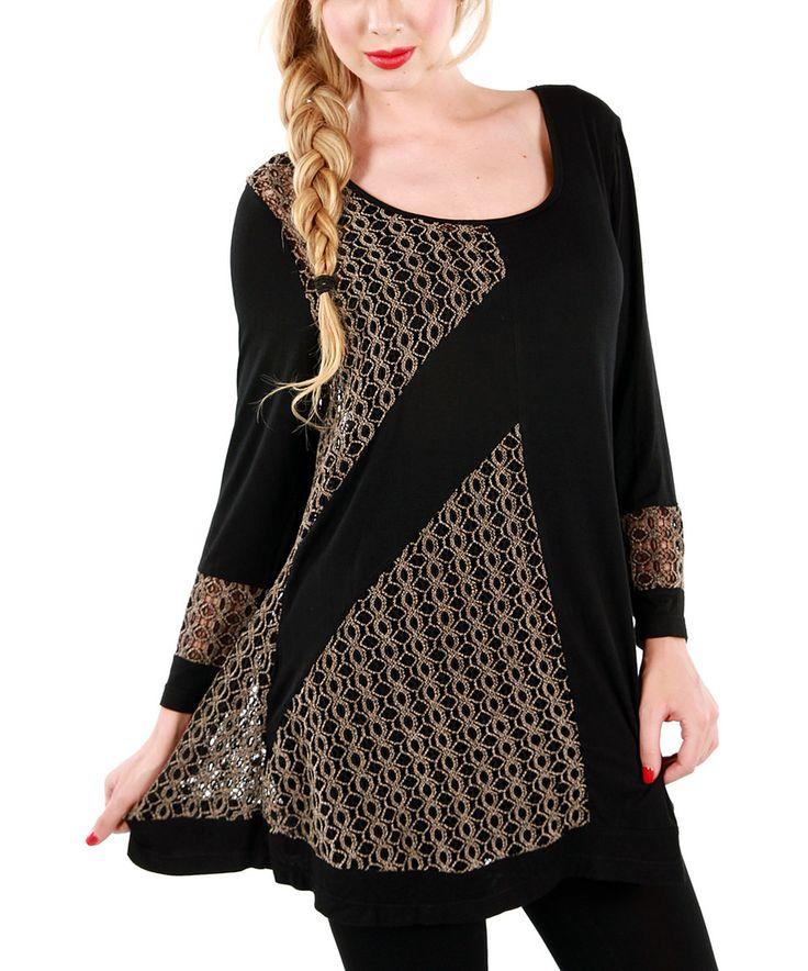 Look at this #zulilyfind! Beige & Black Crochet Panel Tunic by Lily #zulilyfinds