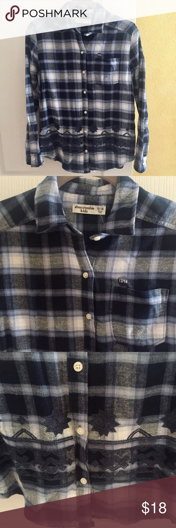 Abercrombie Kids girls NWT flannel plaid top LS Abercrombie Kids NWT girls size 13/14 cotton blue plaid flannel shirt. Button down style with embroidery detail along the bottom. Nice and soft from a smoke free home. Abercombie Kids Shirts & Tops Button Down Shirts
