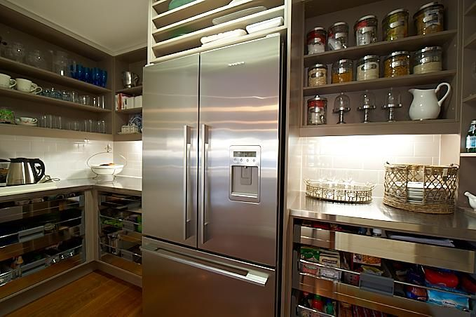The House That AM Built: Pantry with taupe cabinets, open shelves, stainless steel countertops and subway tiles ...