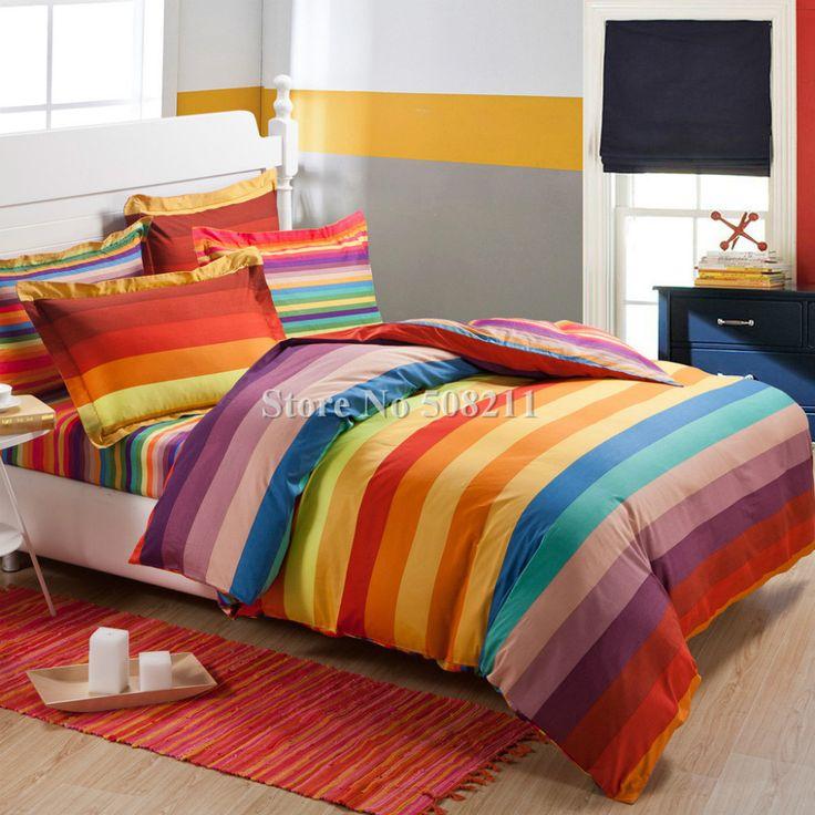 Beautiful Free Shipping,bedding Set 100% Cotton Rainbow Color Stripe Modern Pattern  4pcs Full/ Great Ideas