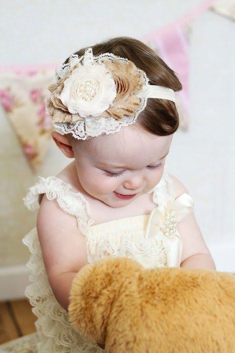 Vintage Baby Headband Ivory Beige Vintage Headband Shabby Headband Baby Bows girl Headband Hair bow Newborn Headband