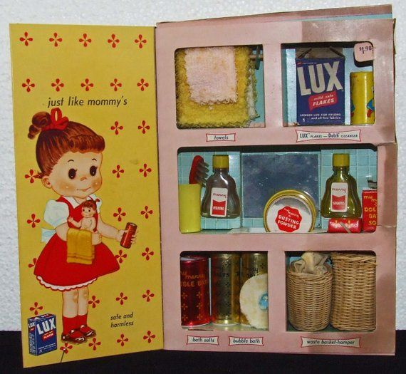 Merry Dolly's Bath Closet Toys Mid Century Advertising Miniature Doll Bath Time Lux Detergent Dutch Girl Cleanser Towels Soap Wicker Hampers