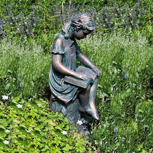 Large Bronze Effect Garden Statues   Reading Girl Sculpture