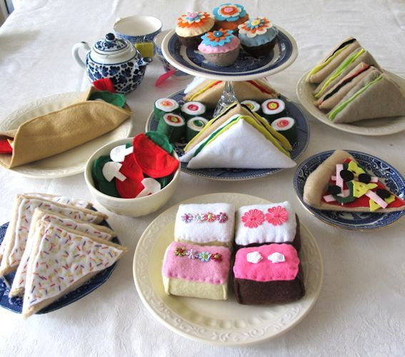 The essential starter felt food set. This huge spread of felt play food includes all the essentials for an afternoon tea party, teddy bears picnic or for children to play with in their pretend play kitchens.