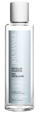 JOUVIANCE Micellar Water: Eye and makeup remover.  Gentle and refreshing make-up remover. Instantly refreshes, cleanses and removes make-up, even waterproof. Micro-emulsifies impurities without irritating skin. Leaves the complexion toned and revitalized.