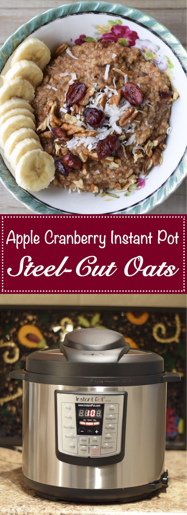 Apple Cranberry Instant Pot Steel Cut Oats  - A great breakfast recipe to make in your electric pressure cooker.