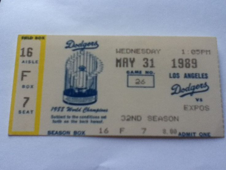 season ticket for expos at dodgers may 31 1989-john wetteland debut from $14.0