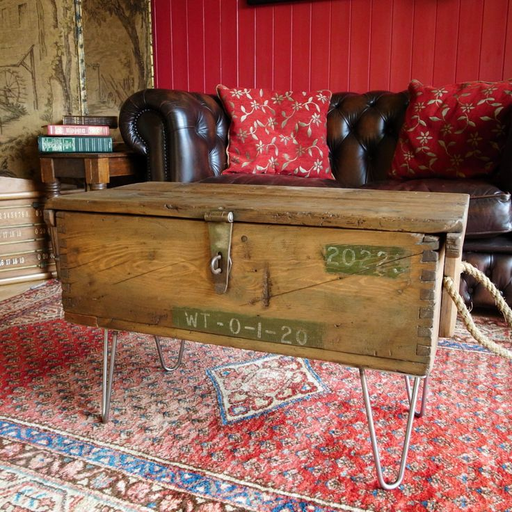 VINTAGE INDUSTRIAL CHEST Storage Trunk Small Coffee/Side Table WW2 Munitions Chest Mid Century Military Chest Tv Stand by VintageTrunksChests on Etsy
