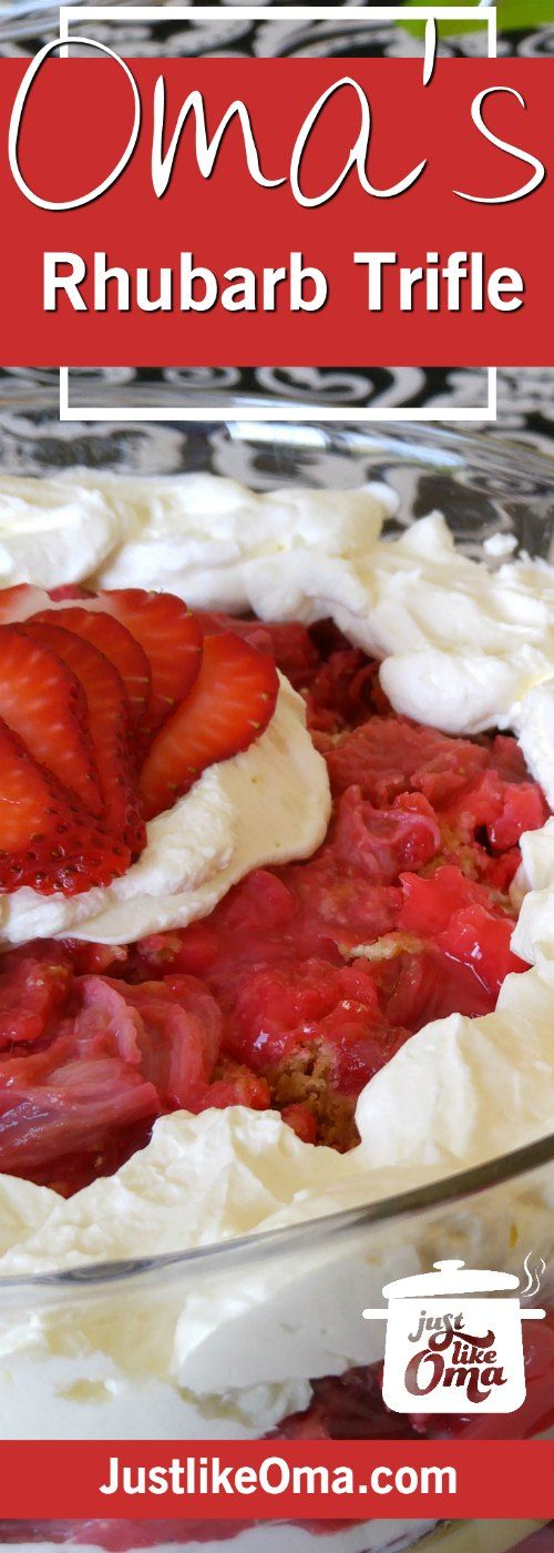 Absolutely delicious Rhubarb Dump Cake Trifle ❤️ ... perfect springtime treat using a Rhubarb Dump Cake! Check out http://www.quick-german-recipes.com/rhubarb-dump-cake.html