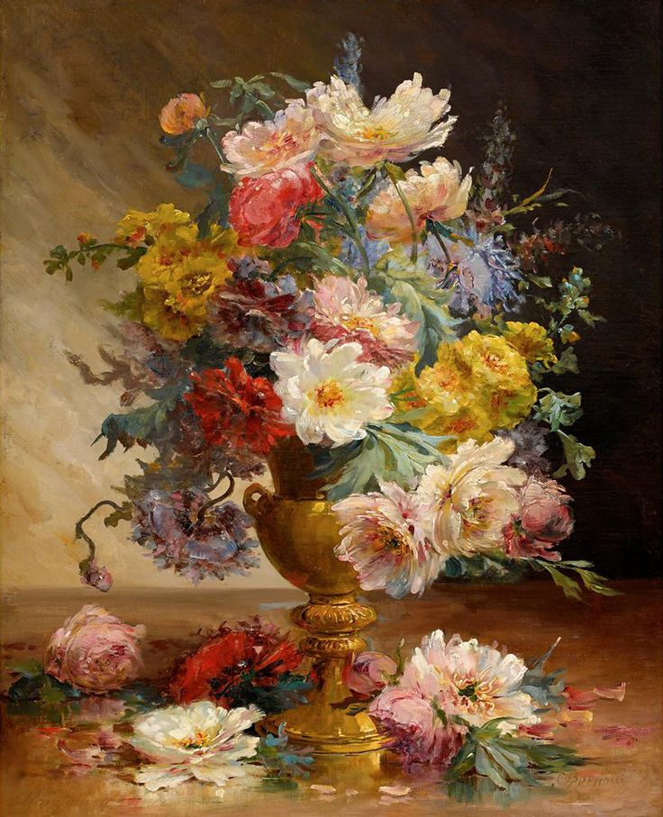 Edmond Van Coppenolle (1846 - 1914) - Mixed flowers